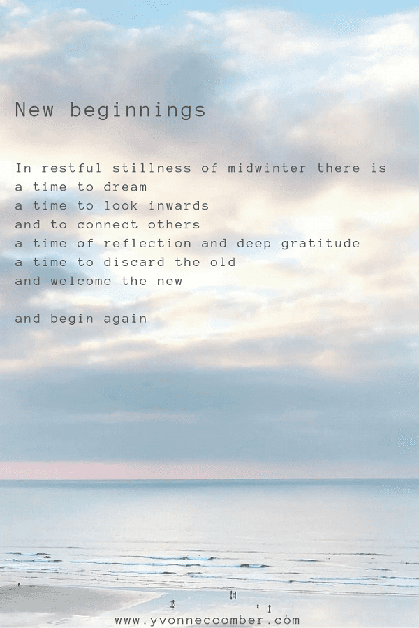 End of year thoughts and new beginnings - Yvonne Coomber
