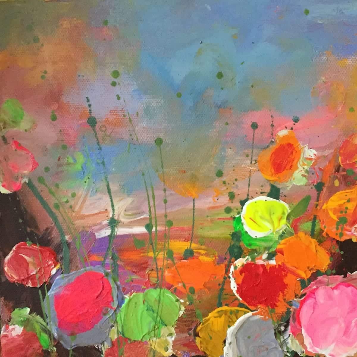 Contemporary Art for Sale - Wild Flower Paintings - 20cm x 20cm 01