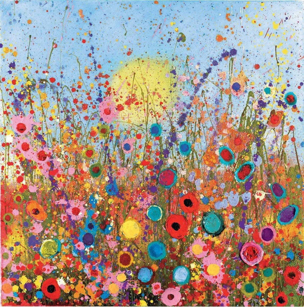 Glitter flower paintings