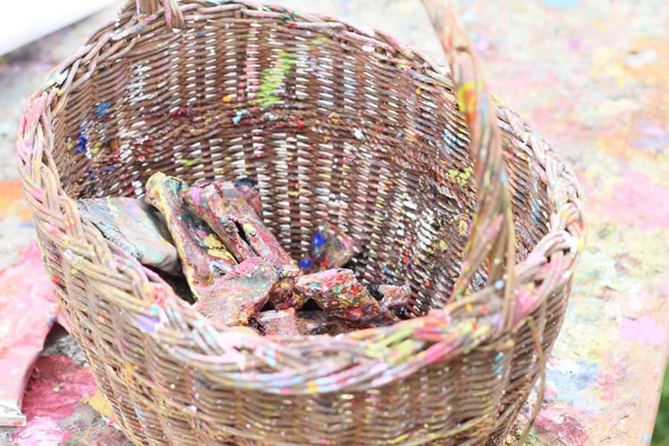 Arts and crafts. Yvonne Coombers paint basket